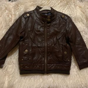 *LikeNew*Brown Faux Leather Moto Jacket/Coat